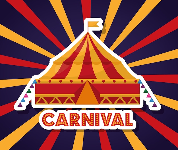 Festival de feria de carnaval en fondo starburst