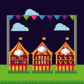 Festival feria carnaval tres cabinas globos en el campo