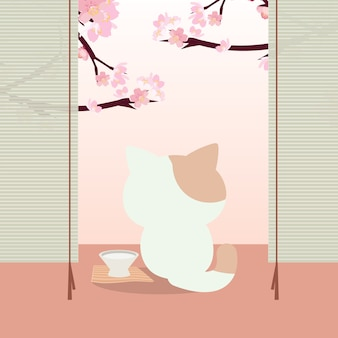 Festival de hanami. festival de los cerezos en flor en japón con un gato.