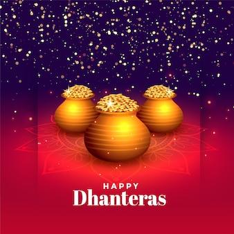 Festival hindú de dhanteras felices brillan