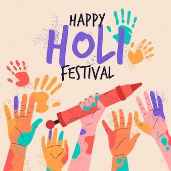 Festival holi dibujado a mano con palmeras de colores.