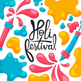 Festival holi dibujado a mano