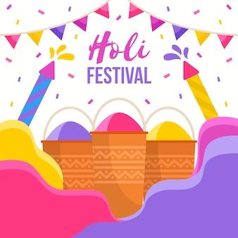 Festival holi en diseño plano