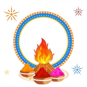 Festival de holi diseño de tarjeta de felicitación decorado con hoguera, cuencos.