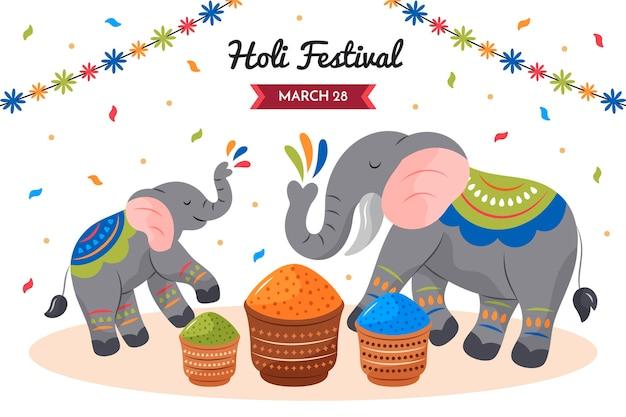 Festival holi de elefantes dibujados a mano