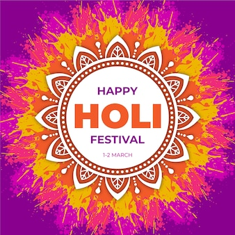Festival holi con mandala colorido
