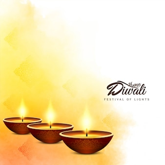 Festival indio feliz diwali fondo amarillo brillante