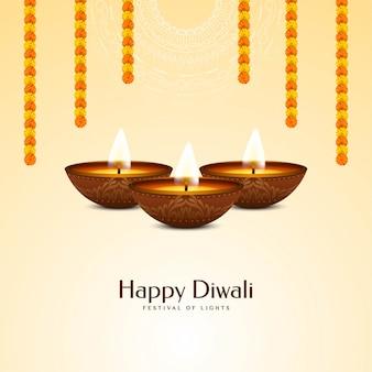 Festival indio feliz diwali con guirnalda