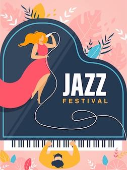 Festival de jazz banner, invitación, folleto de concierto.