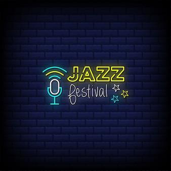 Festival de jazz letreros de neón estilo texto