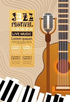Festival de jazz música en vivo concierto cartel anuncio retro banner