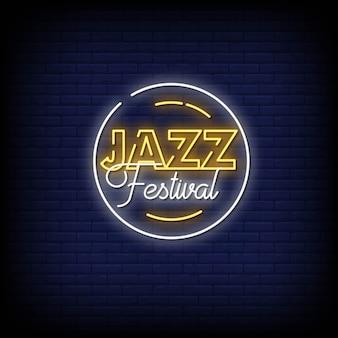 Festival de jazz de neón en la pared de ladrillo