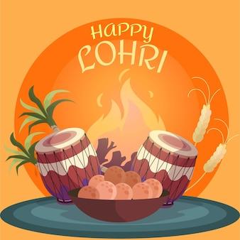 Festival de lohri dibujado a mano