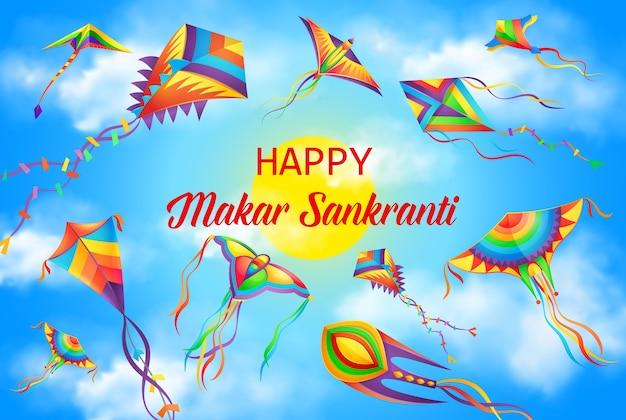 Festival de makar sankranti, cartel de vacaciones del calendario hindú del solsticio de invierno. fondo de celebración del festival de la cosecha, banner de vacaciones de religión hinduismo de india y nepal con cometas volando en el cielo