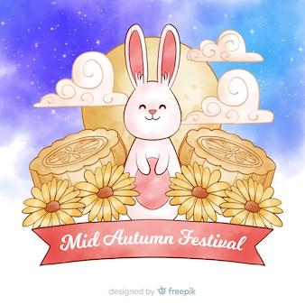 Festival de mediados de otoño de acuarela