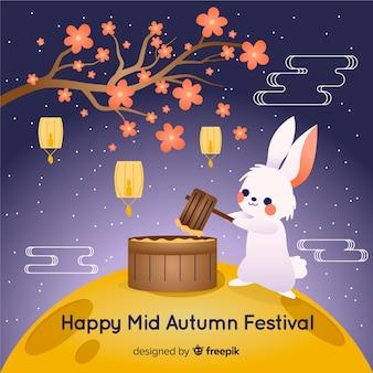 Festival de mediados de otoño dibujado a mano