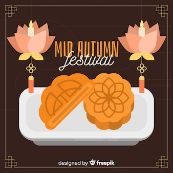 Festival de mediados de otoño de diseño plano