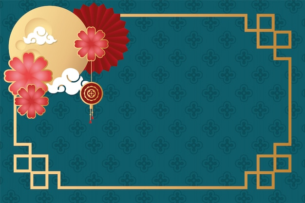 Festival de mediados de otoño marco con luna y flores