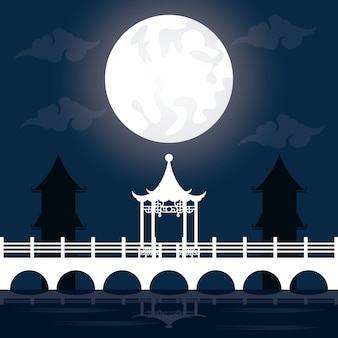 Festival de mediados de otoño paisaje con luna