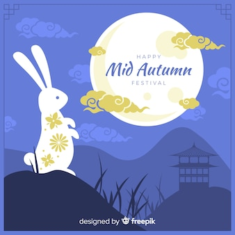 Festival de mediados de otoño plano con conejo blanco