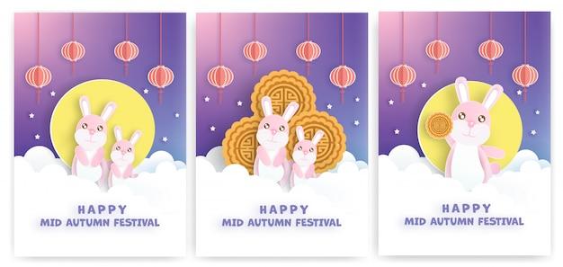 Festival del medio otoño chino con estilo de corte de papel