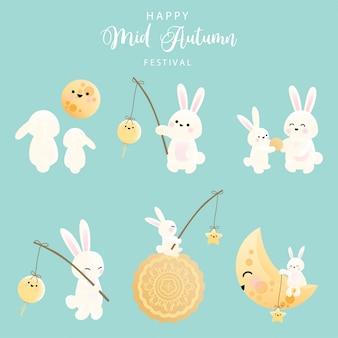 Festival del medio otoño conjunto de conejito.