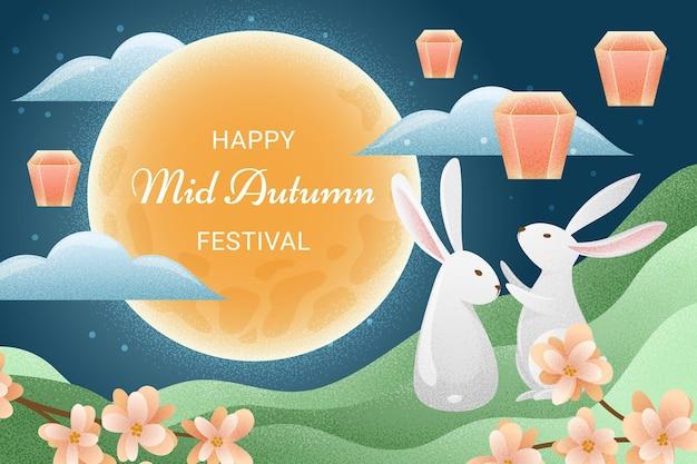 Festival del medio otoño dibujado a mano