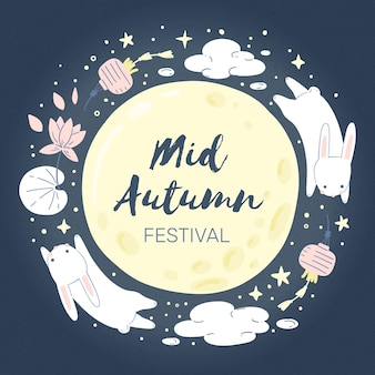 Festival del medio otoño dibujado