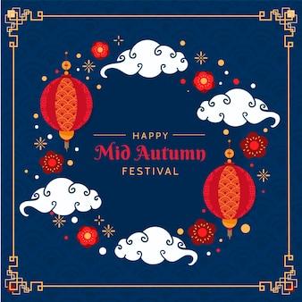 Festival del medio otoño en diseño plano.