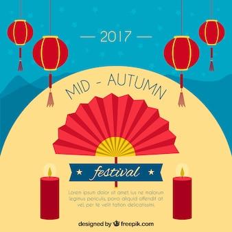Festival de medio otoño, escena con un abanico