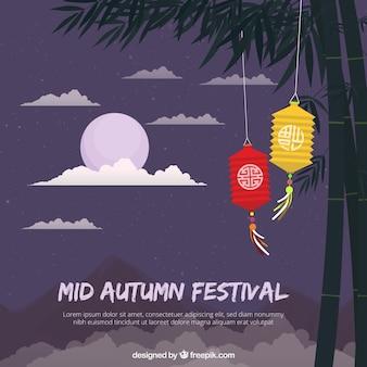 Festival de medio otoño, escena con una luna púrpura