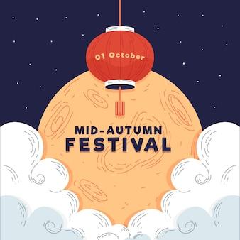 Festival de medio otoño de estilo dibujado a mano