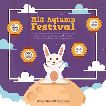 Festival de medio otoño, fondo púrpura con un conejo