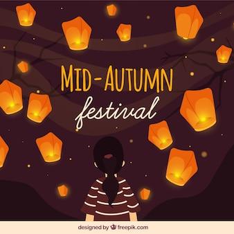 Festival de medio otoño, linda escena con farolillos