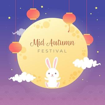 Festival del medio otoño con luna y conejito.