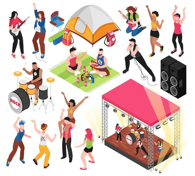 Festival de música al aire libre con personajes humanos de visitantes del festival y músicos aislados