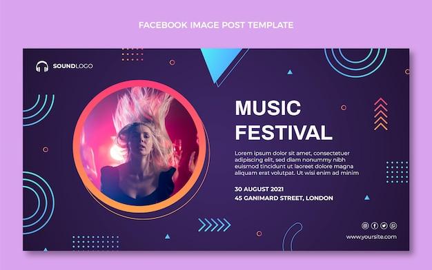 Festival de música colorido degradado publicación de facebook