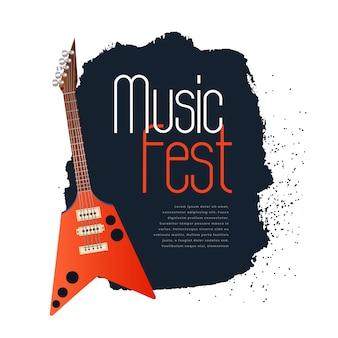 Festival de música concepto banner con guitarra electrónica.