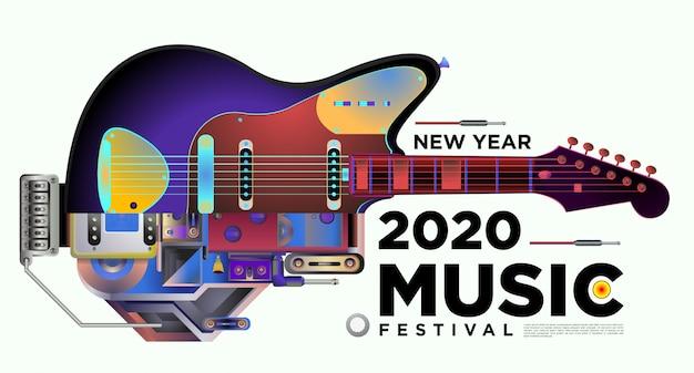 Festival de música diseño de plantilla de cartel horizontal