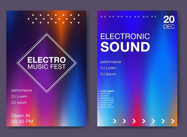 Festival de música electrónica y cartel de electro verano.