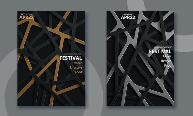 Festival de música electrónica diseño de cartel minimalista.