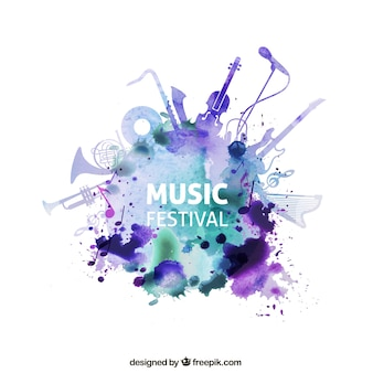Festival de música en estilo de acuarela