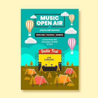Festival de música estilo cartel de evento.
