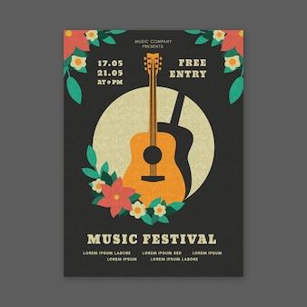 Festival de música estilo póster con guitarra