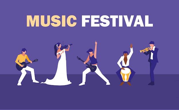 Festival de música con un grupo de artistas.