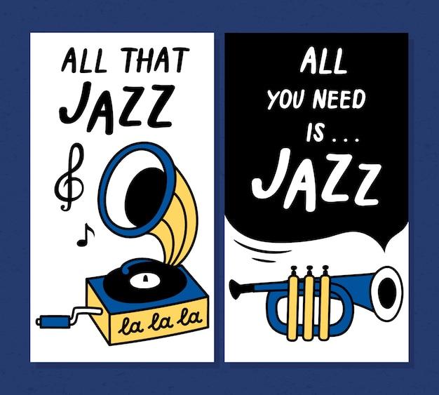 Festival de música de jazz cartel y plantillas de diseño de banner