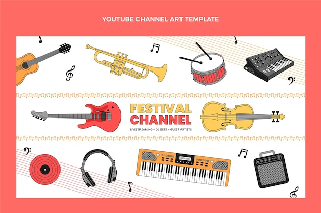 Festival de música minimalista plana arte del canal de youtube