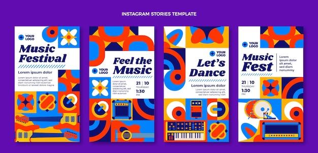 Festival de música de mosaico de diseño plano