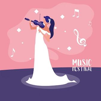 Festival de música con mujer tocando el violín