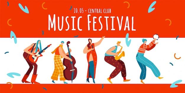 Festival de música, personaje de personas hippie, ilustración. estilo boho, masculino, femenino con guitarra, viola, trompeta.